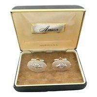BIG Vintage 1950s 60s ANSON Masonic SHRINER Sterling Silver & Spinel CUFFLINKS in Orig Box