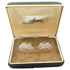 BIG Vintage 1950s 60s ANSON Masonic SHRINER Sterling Silver & Spinel CUFFLINKS in Orig Box