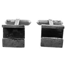 RARE Pair of 1950s Caroline Gleick Rosene California Handmade Sterling Silver Modernist CUFFLINKS