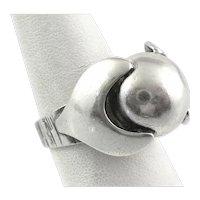 BIG Vintage 1960s 70s Handmade Sterling Silver Geometric Modernist RING Size 9.5 US