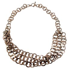 BIG Vintage 1980s 90s Handmade Copper Interlocking Circle Links Artisan Modernist NECKLACE