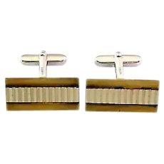 BIG Vintage 1950s Handmade 800 Silver & Gold Vermeil Modernist Design CUFFLINKS