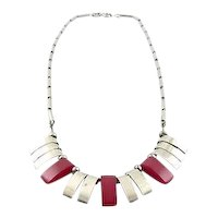 Vintage 1930s ART DECO French German MACHINE AGE Chrome & Galalith Geometric NECKLACE