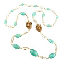 QUIRKY Vintage 1920s 30s ART DECO Handmade Czech Glass Beads on Cord Egyptian Revival Design NECKLACE