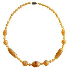 LOVELY Vintage 1920s 30s Art Deco Czechoslovakia Handmade Czech Glass Beads on Cord Geometric Design NECKLACE