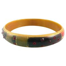 RARE Vintage 1910s 20s French Early Art Deco Hand Painted Celluloid & Rhinestones BRACELET