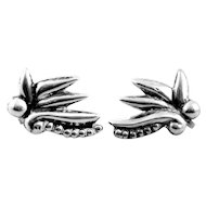 BIG 1940s SIGNED Mexico Art Deco Handmade Sterling Silver Tropical Floral Design Screw EARRINGS