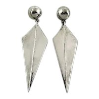 "HUGE Pair of Vintage 1980s 90s SIGNED Mexico Handmade Sterling Silver KITE Shaped Modernist EARRINGS - 3.25"" Long!"