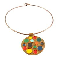 BIG Vintage 1960s 70s Signed JC Handmade Copper Enamel Multicolor Modernist Pendant Torque NECKLACE
