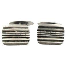 Vintage 1940s 50s Handmade European 835 Silver Modernist Etched Design CUFFLINKS