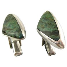 BIG 1950s Enrique LEDESMA Taxco Handmade Sterling Silver & Malachite Boomerang Modernist CUFFLINKS