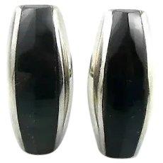 BIG 1950s Enrique LEDESMA Taxco Handmade Sterling Silver & Dark Blue Hawkeye Modernist CUFFLINKS