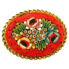 Vintage 1930s 40s ITALY Handmade Brass & Micromosaic Glass FLORAL Design Oval Brooch PIN