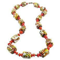 SUPERB Vintage 1940s 50s Handmade Czech Art Glass Beads Modernist Design NECKLACE