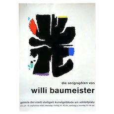 Original 1963 Willi BAUMEISTER Exhibition Serigraph Domberger Siebdruck