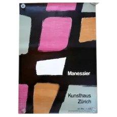 "HUGE Original 1950s Litho Poster Alfred MANESSIER Kunsthaus Zurich Atelier W Diethelm - 35"" by 50""!"