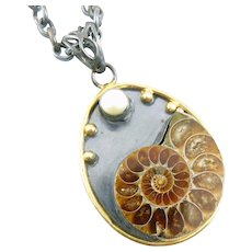 BIG Vintage 1980s Handmade Sterling Silver Gold Overlay Fossilized Shell & Pearl Pendant + Chain NECKLACE