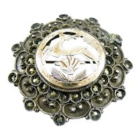 ANTIQUE Victorian Era Handmade 900 Silver Gold Overlay and Marcasites LEAPING DEER Design Brooch Pin PENDANT