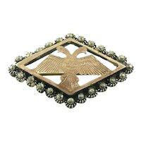 ANTIQUE Victorian Era Handmade 900 Silver Gold Overlay TWO HEADED BIRD Design Brooch PIN