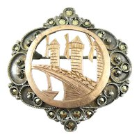 ANTIQUE Victorian Era Handmade 900 Silver Gold Overlay & Marcasites WINDMILLS Design Brooch PIN