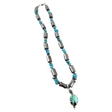 Vintage 1980s 90s Handmade Native Tribal Sterling Turquoise Hematite NECKLACE