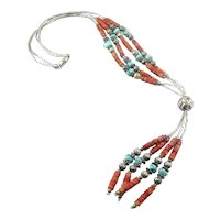 HUGE Vintage 1960s 70s Handmade Native Tribal Sterling Silver Coral Turquoise Beads Pendant NECKLACE