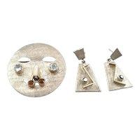 Vintage 1960s 70s Ecuador Handmade Sterling Silver Garnet Topaz RC Quartz Modernist FACE design Brooch Pin Pendant + Chain & Earrings SET