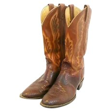 TONY LAMA Vintage Handmade Exotic Lizard & Hand Stitched Leather Size 9.5 D COWBOY BOOTS