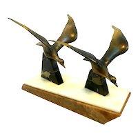 BIG 1930s 40s Art Deco Streamline Moderne Patinated Metal & Three Color Marble Birds in Flight SCULPTURE
