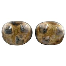 BIG Vintage 1960s 70s SIGNED Canada One of a Kind Handmade Pottery Brutalist Modernist CUFFLINKS