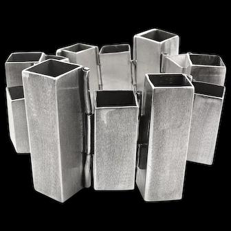 SUPERB Rare 1970s RACHEL GERA Israel Handmade Sterling Silver Architectural Modernist Link BRACELET