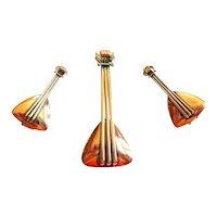 BIG Vintage 1950s Renoir California Handmade Copper BALALAIKA Musical Instrument Design Brooch Pin & Earrings SET