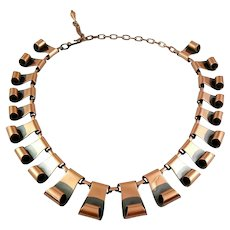 BIG Vintage 1950s Handmade Copper Scrolling Link Modernist NECKLACE