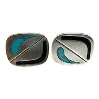 BIG Vintage 1950s SIGNED Handmade Sterling Silver Turquoise & Black Onyx Modernist CUFFLINKS
