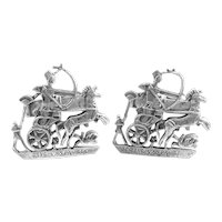 BIG Pair of 1950s 60s Egyptian Revival Handmade 800 Silver Warrior in Chariot Design CUFFLINKS