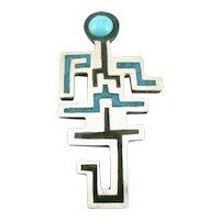 RARE Vintage 1950s 60s TONO Taxco Piedra Negra Handmade Sterling Silver Mexican Modernist Brooch Pin PENDANT