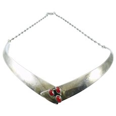 Vintage 1950s 60s Native Tribal Old Pawn Handmade Sterling Silver & Coral Modernist NECKLACE