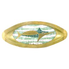 RARE 1950s Salvador Teran Mexico Handmade Brass & Art Glass Tiles Modernist SWORDFISH Design TRAY