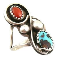 BIG Vintage 1960s 70s Native Tribal Old Pawn Handmade Sterling Silver Coral Turquoise RING Size 5.5