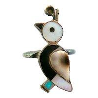 BIG Vintage 1960s 70s Native Zuni Sterling & Inlay BIRD Design RING Size 7.5