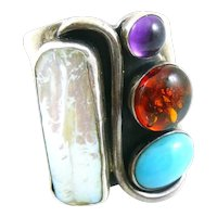 BIG 1980s 90s Signed Handmade Sterling Silver Turquoise Baroque Pearl Amber & Amethyst Modernist RING Size 8 US