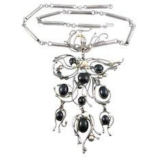 "HUGE Vintage 1970s RACHEL GERA Israel Handmade Sterling Silver Cultured Pearls & Black Onyx Modernist NECKLACE - Pendant measures 7-1/2"" long!!"