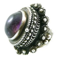 HUGE 1960s 70s Signed Taxco Handmade Sterling Silver & Amethyst Ornate POISON Compartment RING - Adjustable Size