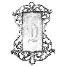 HUGE Antique c. 1900 Handmade Sterling Silver Ornate Scrolling Engraved Initial D Design Ladies BELT BUCKLE