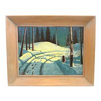 HUGE Signed Lovegrove & Dated 1953 Original Oil on Board Winter by Moonlight PAINTING with Original Wood Frame