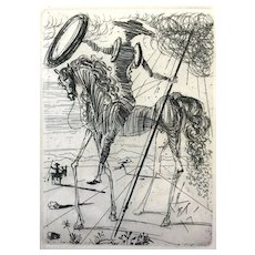 RARE 1950s Salvador Dali Signed Don Quixote Genuine Etching Collectors Guild Original Frame & Glass COA