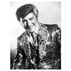 ORIGINAL Vintage 1980 Genuine Liberace Photo with Autograph in Original Frame & Glass