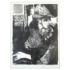 ORIGINAL 1980s 90s Jacqueline Smith Signed Lithograph Woman in Hat Numbered 3/4 Mounted on Board