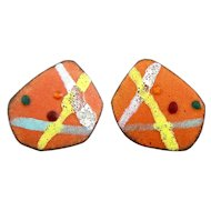 BIG Vintage 1950s SIGNED Handmade Copper Enamel Abstract Expressionist Modernist EARRINGS