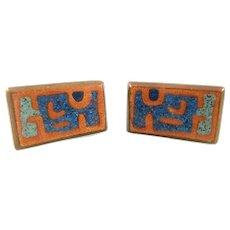 SUPERB Vintage 1950s J. REID Chicago Handmade Copper Enamel Abstract Modernist CUFFLINKS